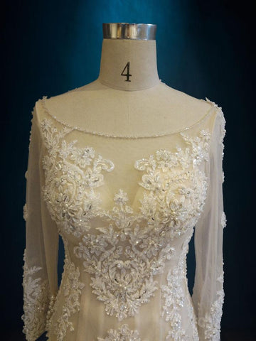 Long Sleeve Beaded Lace Mermaid Wedding Dress