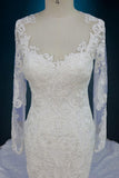 Long Sleeve Beaded Lace Wedding Dress with Low Back