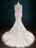 Long Sleeve Lace Wedding Dress with Plunging Neckline and Cape