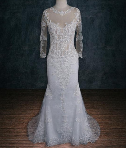 Long Sleeve Sheath Lace Wedding Dress with Opened Back 2019