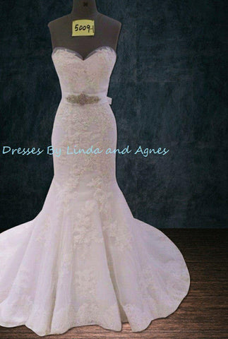 Mermaid Trumpet Gown with Two Layers of Lace and a Sweetheart Neckline