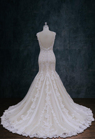 Nude and Ivory Lace Wedding dress Mermaid Trumpet