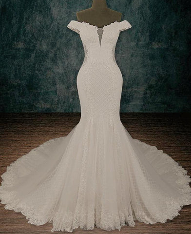 Stretchy Lace Sheath Mermaid Wedding Dress with Off the Shoulder Sleeves