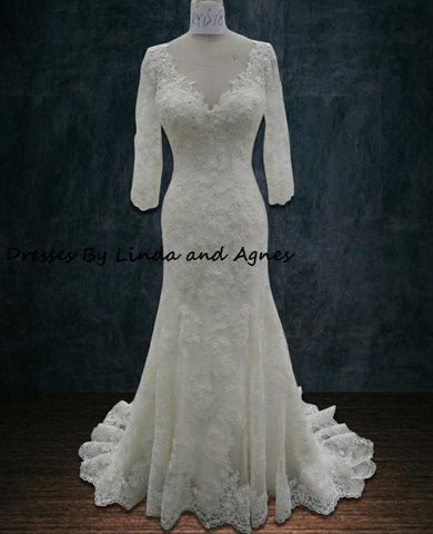 Wedding dress with sleeves beading lace V neck mermaid trumpet
