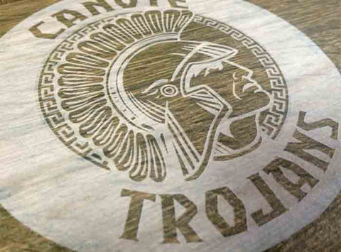 Canute Trojans Etched Cast Stone Wall Mural - Canute, OK