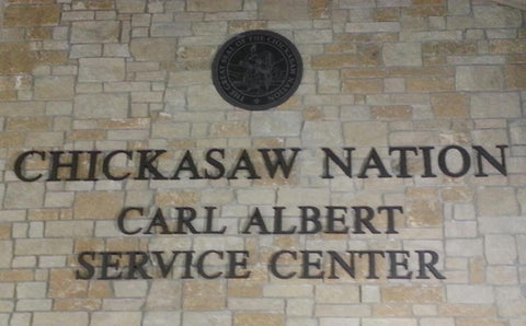 Chickasaw Nation Carl Albert Router Cut Sign Lettering