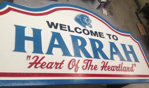 City of Harrah Hand Painted Carved Sign