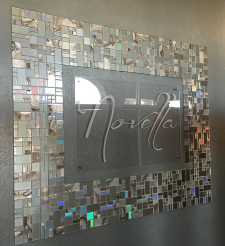 Novella Etched Clear Acrylic Sign