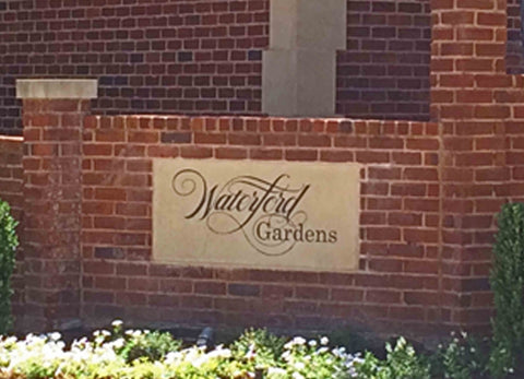 Waterford Gardens Etched Neighborhood Sign