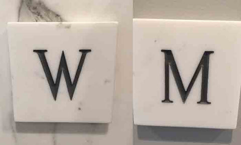 Womens and Mens Bathroom Carved Marble Signs