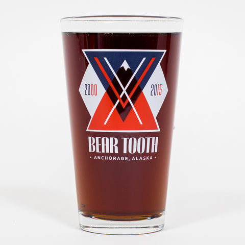Bear Tooth 15th Anniversary Pint Glass
