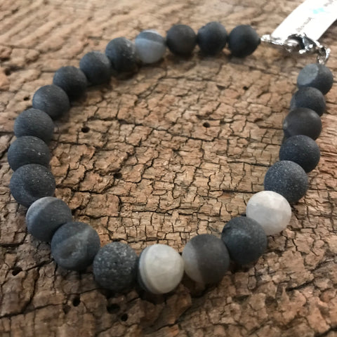 Men's Black Druzy Agate