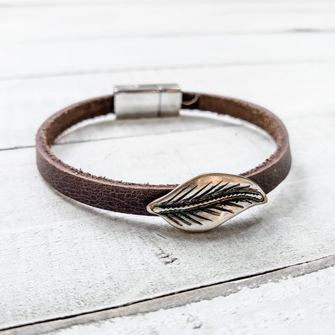 Feather Leather Bracelet
