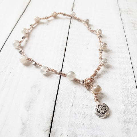 Moonstone Crocheted Anklet