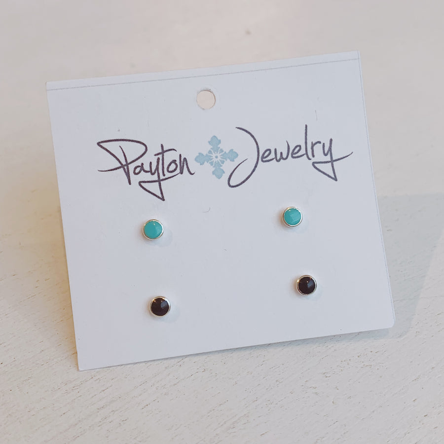Turquoise and Onyx Earring Set