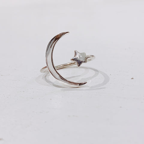 Large Star And Moon Ring