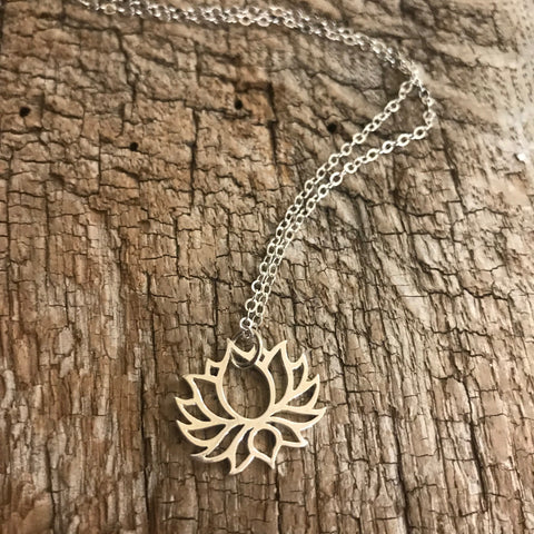 Open Lotus Flower Necklace