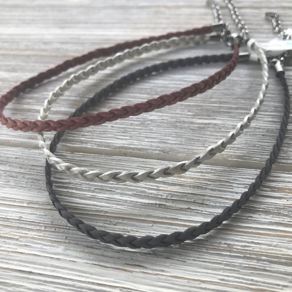 Flat Braided Leather Choker