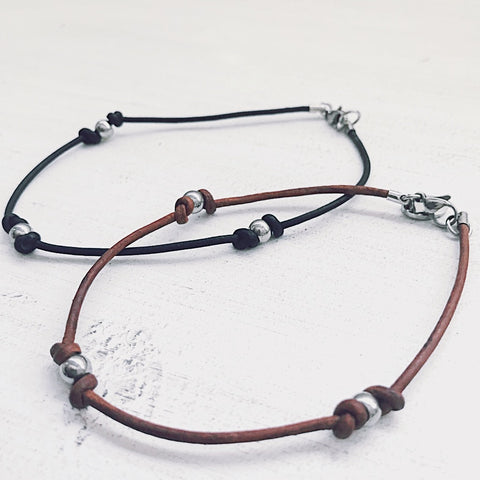 Payton Leather Anklet | Trinity Anklet