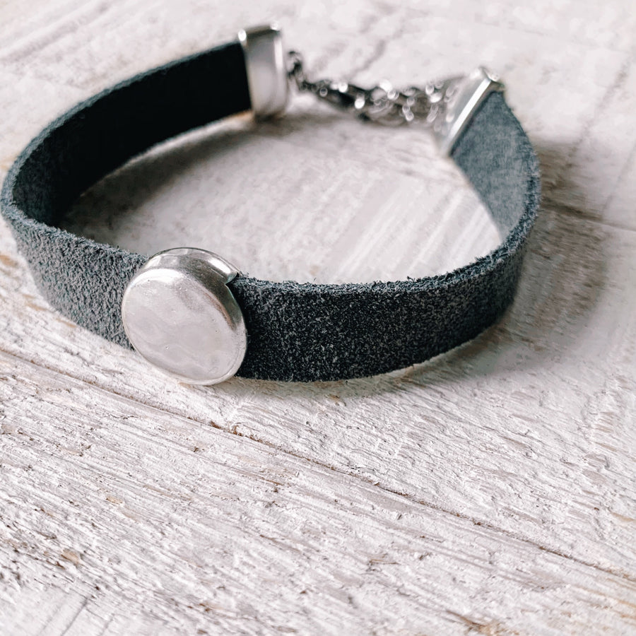 Soft Suede Hammered Dot Bracelet