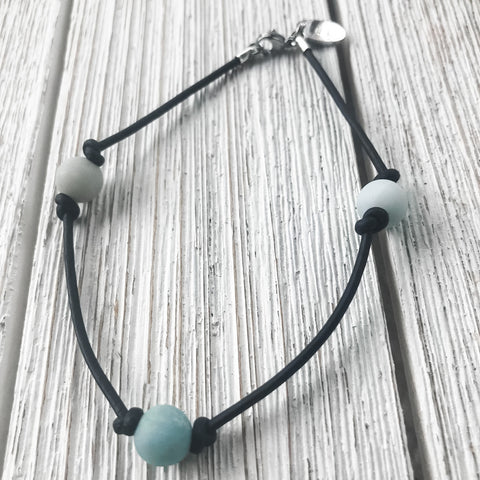 Seafoam and Leather Anklet