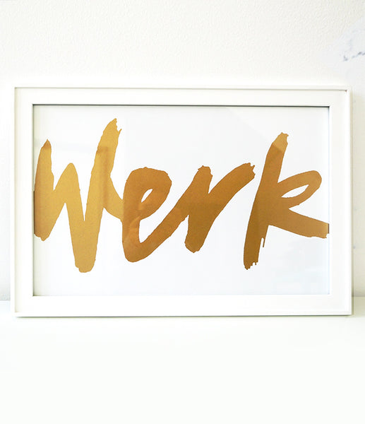 """Werk"" Metallic Gold Wall Art"