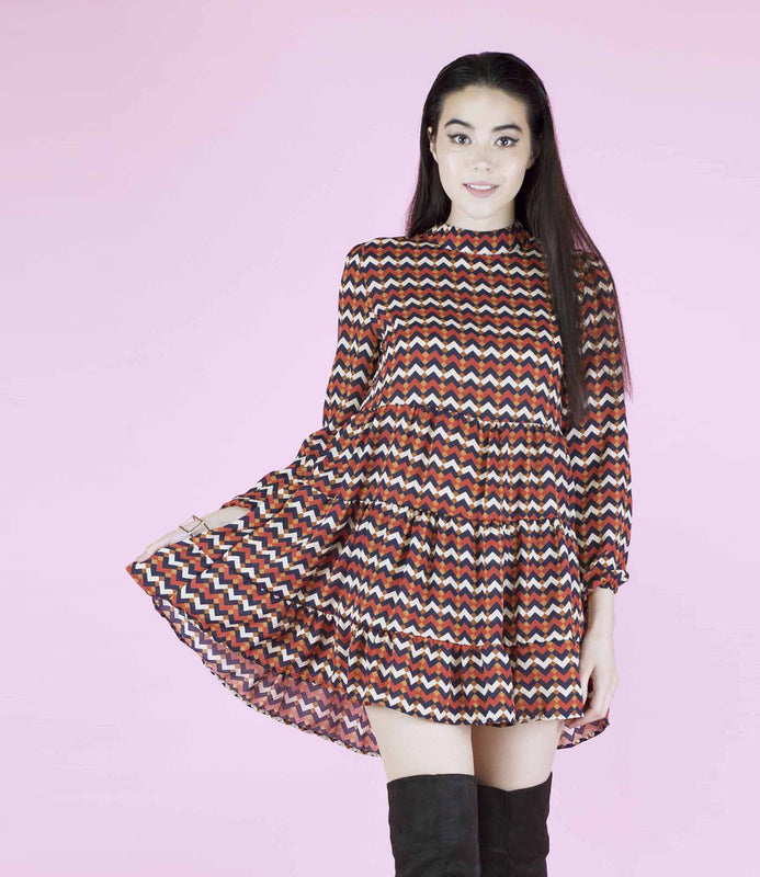 Festival Fever' Aztec Ruffle Smock Dress