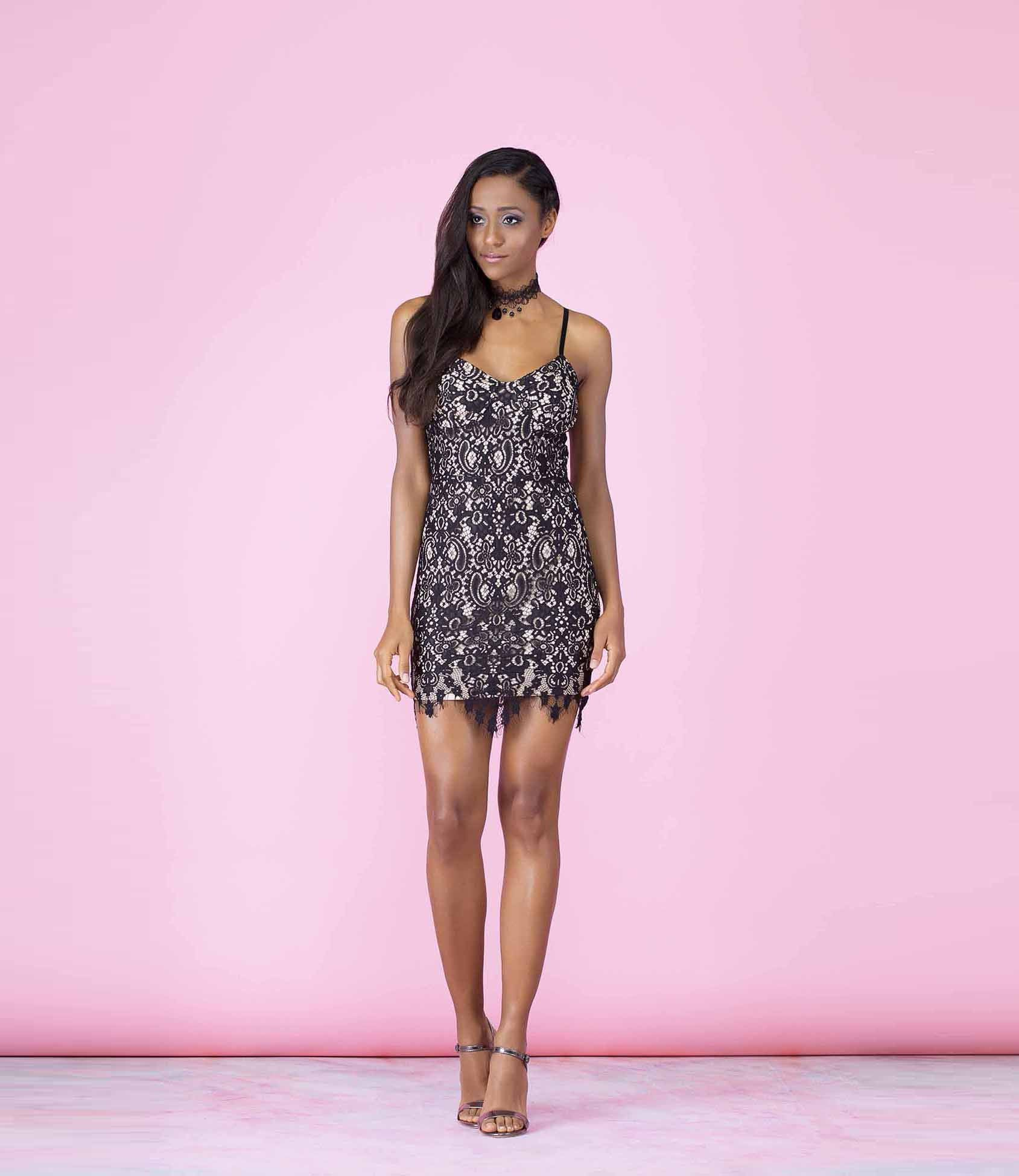 'Hello Stranger' Black and Beige Lace Overlay Mini Dress