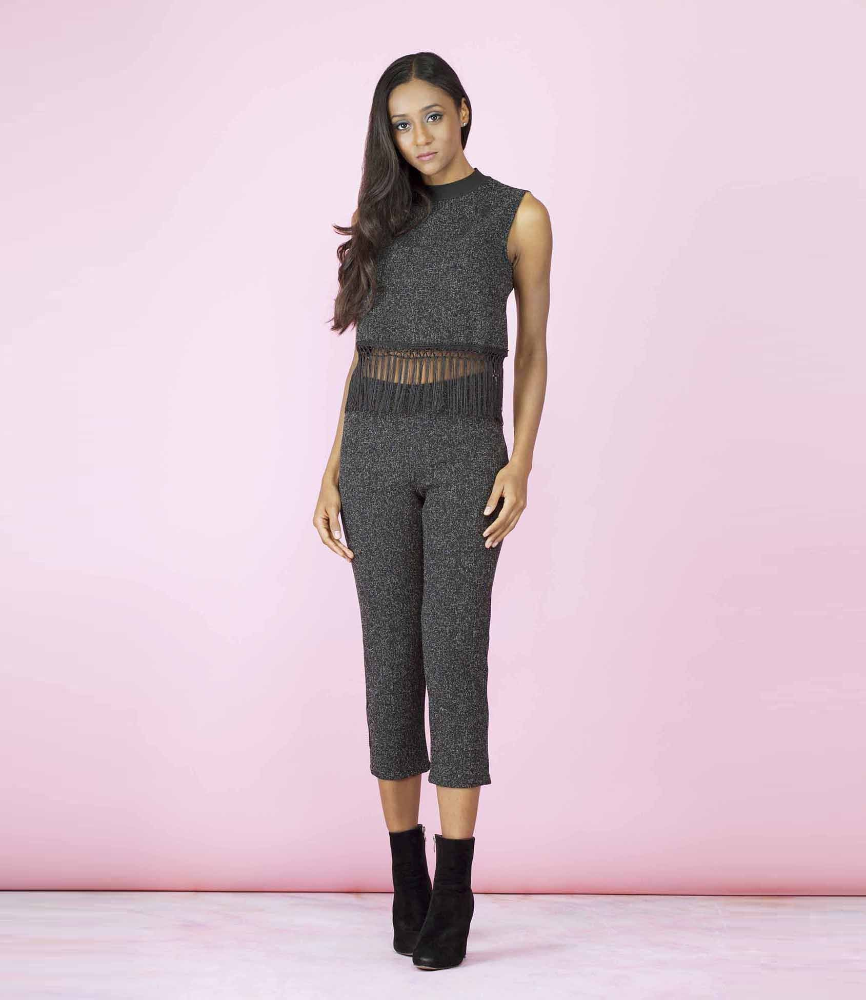 'On Fire' Black Ash Tasseled Two Piece Co-ordinate Trouser Set