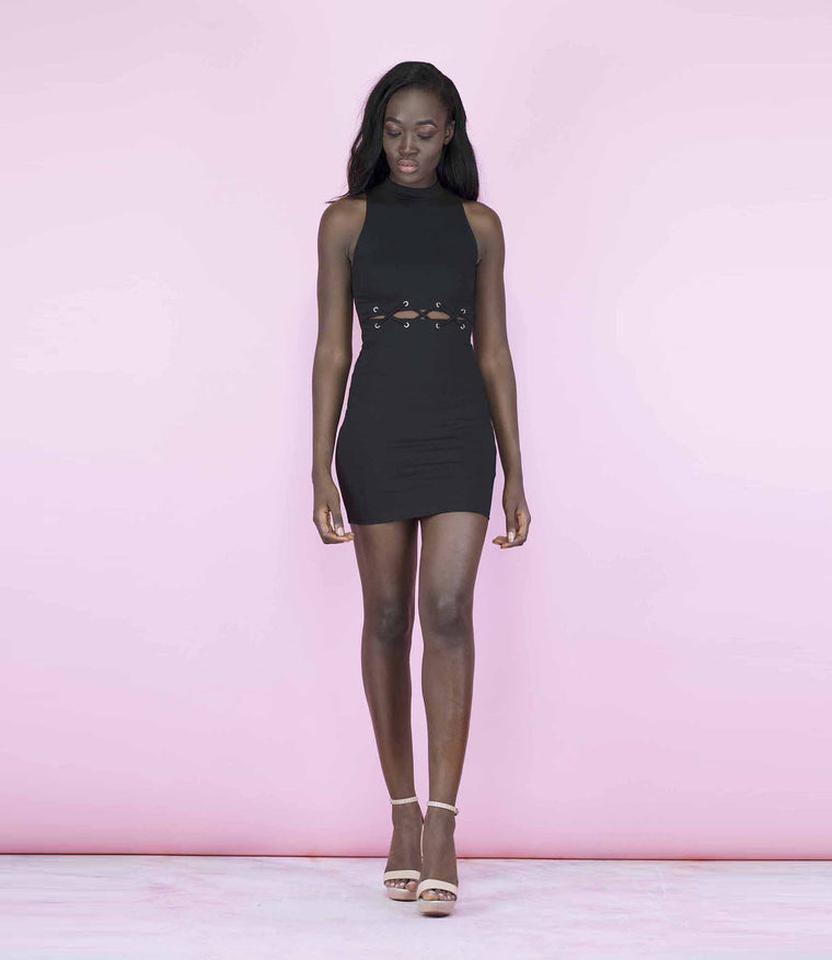 'Allure' Black Cut Out Laced Up Eyelet Dress