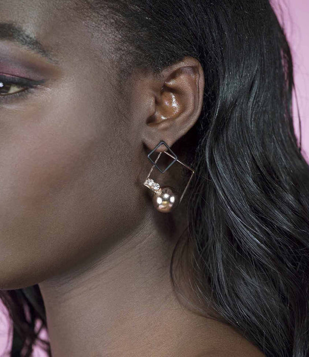 'Show Time' Gold Black Square and Ball Asymmetric Diamonte Earrings