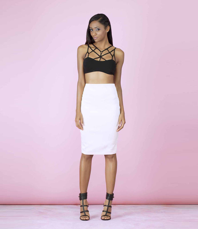 'One in a Million' Black Harness Caged Bralet Crop Top