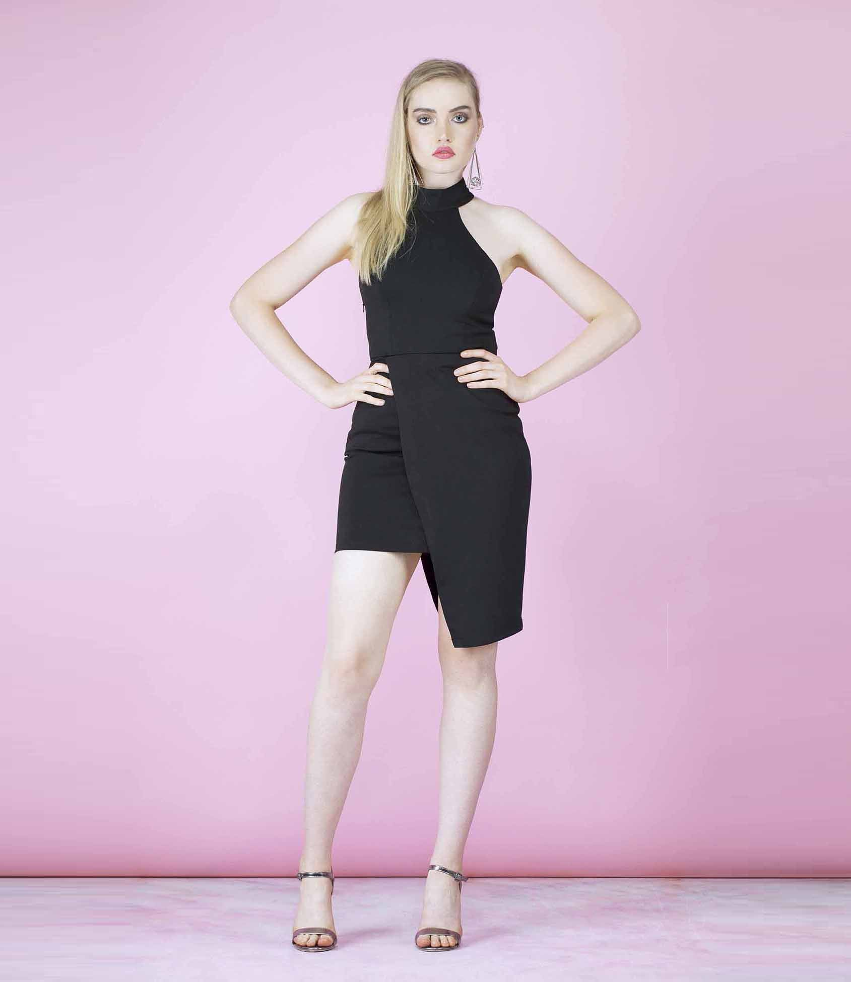 'In The know' Black High Neck Asymmetric Dress