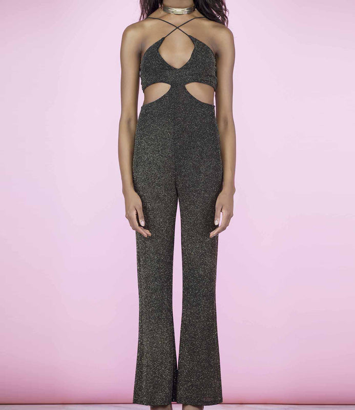 'Cut It' Gold and Black Glitter Cut Out Flare Bottom Jumpsuit