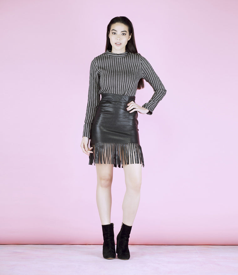 'Cool Vibes' Black Faux Leather Fringe Skirt