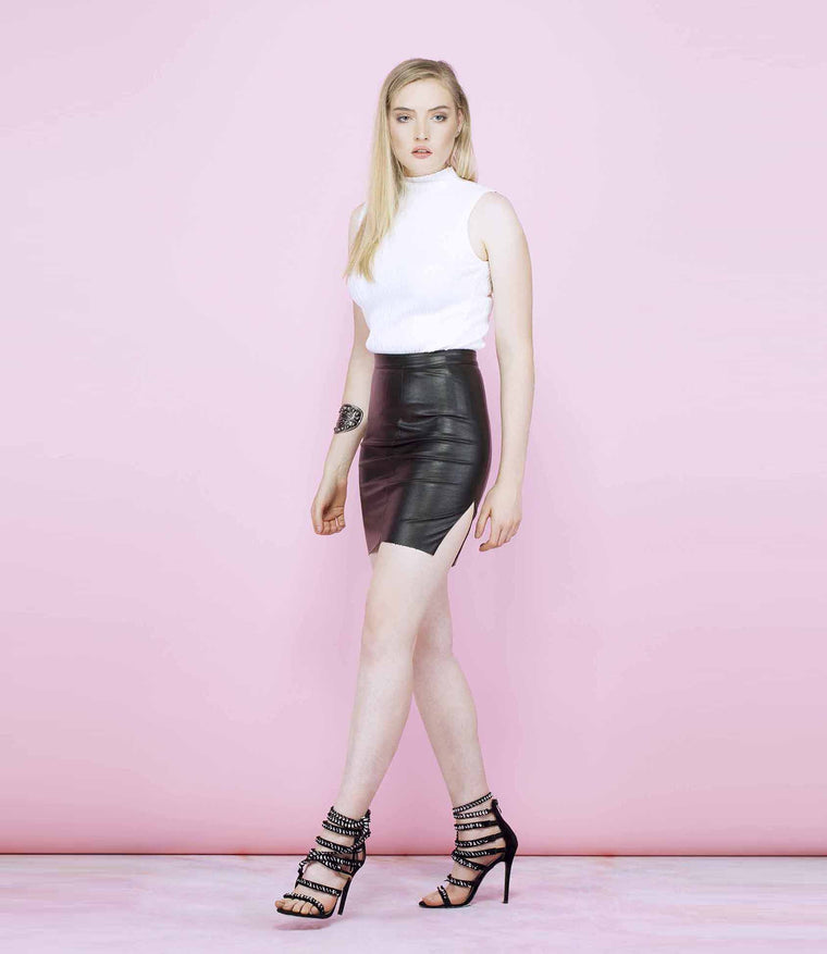 'Rough Ride' Laser Cut Faux Leather Skirt