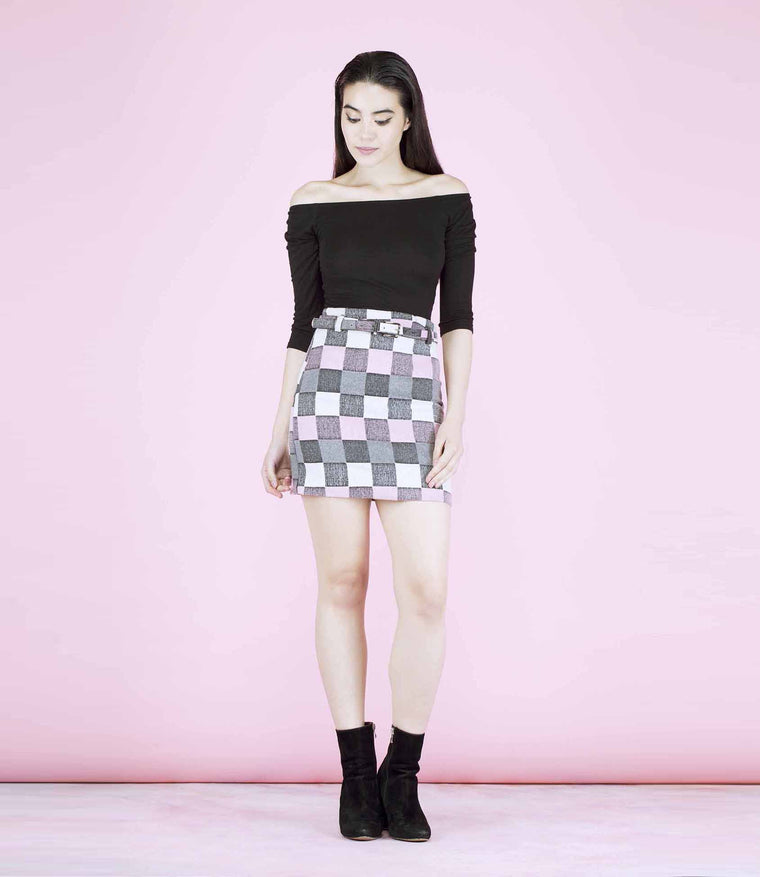 'Swingin' Pink, Grey and White 60's Checked Skirt