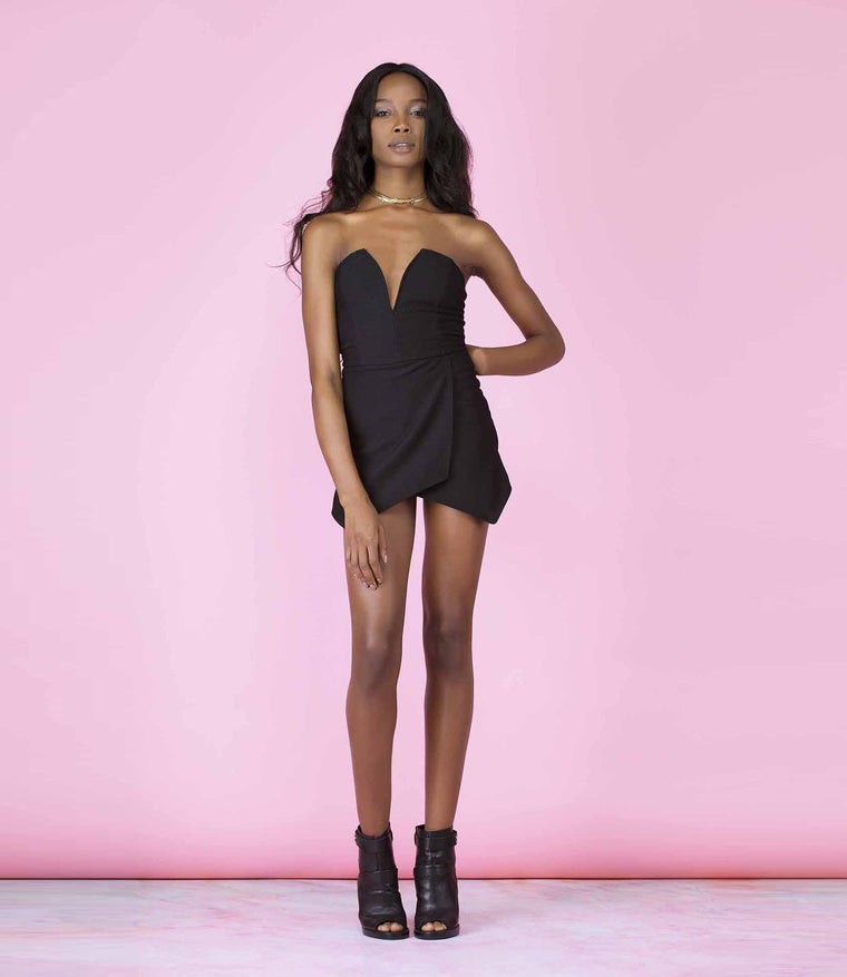 'Searching For You' Black Textured Sleeveless Plunge Skort Playsuit