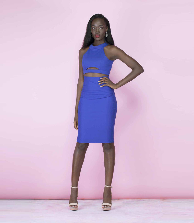 'Scandalous' Blue Two Piece Backless Crop Top and High Waisted Midi Co-Ordinate Set