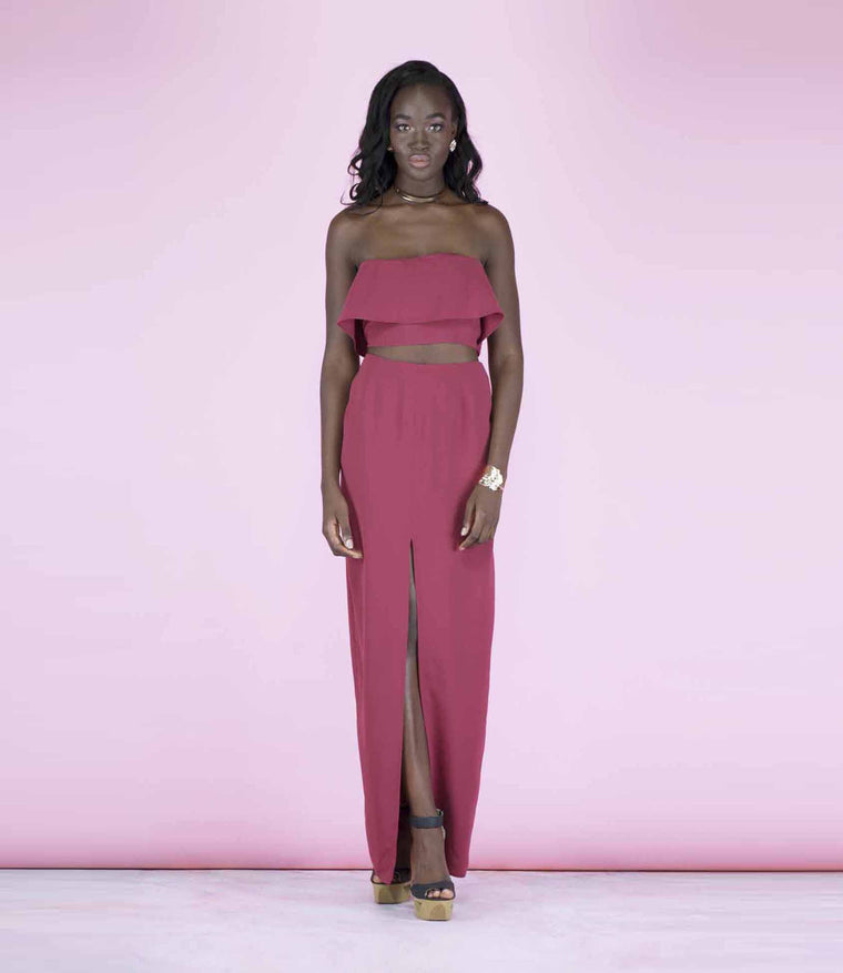 'In Sync' Burgundy Slit Front High Waisted Maxi Slit Front Skirt (Crop Top Sold Separately)