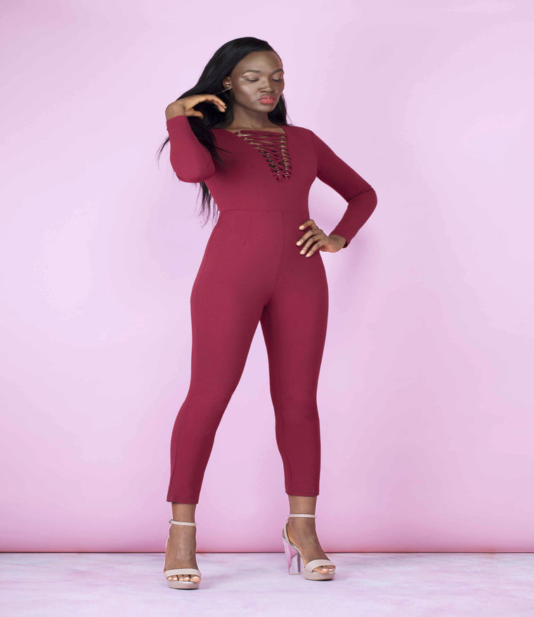'Top Spot' Burgundy Lace Up Long Sleeved Jumpsuit