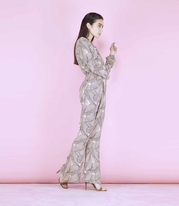 'Play The Game' Leaf Patterned Plunge Flare Bottom Jumpsuit