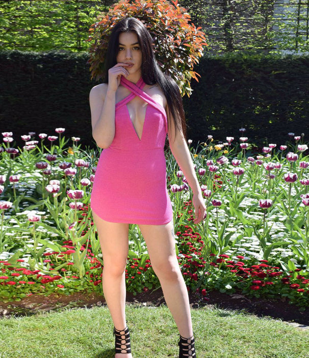 Hot Pink Ribbed V Neck Plunge Curved Hem Mini Dress