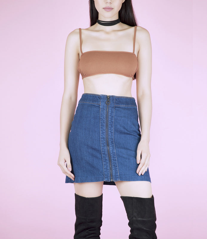 Mid Tan Ribbed 90's Strappy Crop Top Bralet