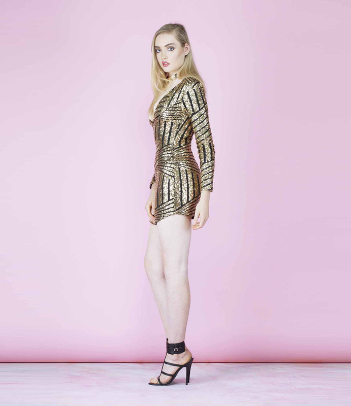 'Rising Star' Black and Gold Plunge Curved Hem Sequined Dress
