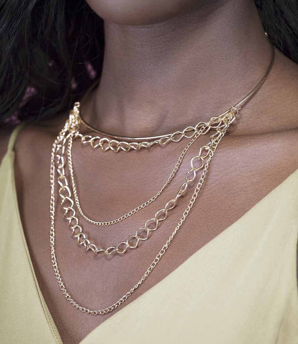 'The Chase' Gold Drop Layered Chain Choker Necklace