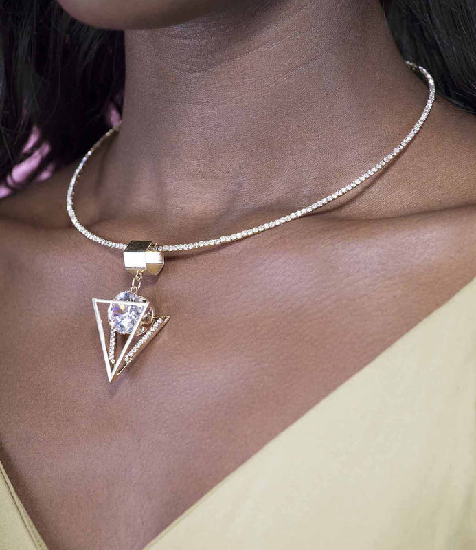 'Rock Your World' Gold Diamonte Pyramid Necklace
