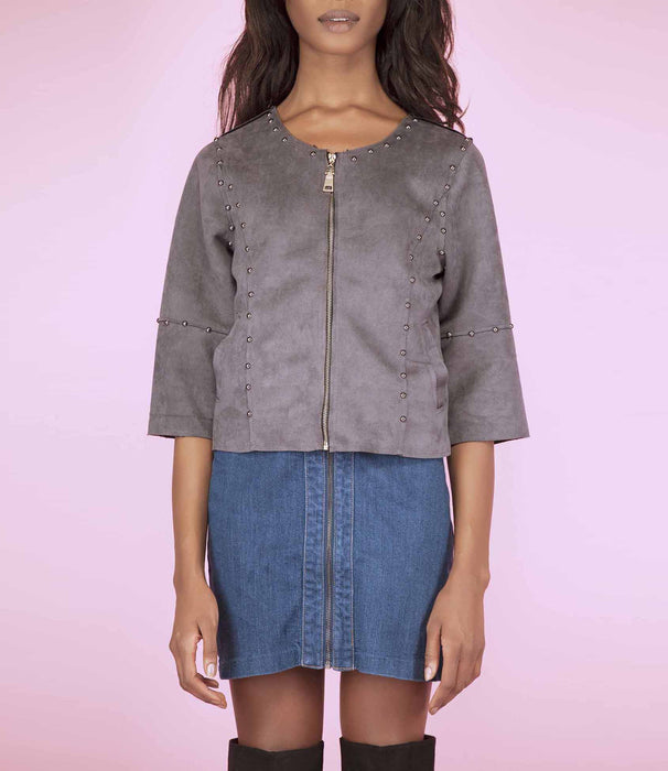 'En Vogue' Grey Faux Suede Cropped Sleeve Biker Jacket