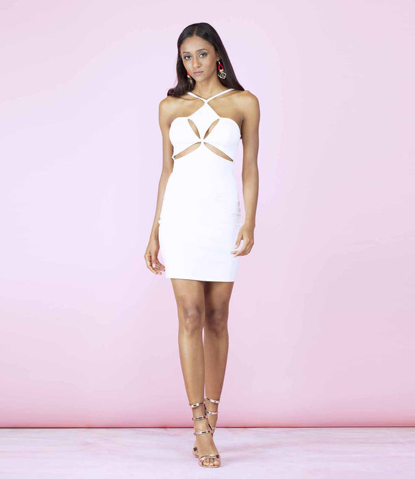 'Up Close' Ivory Off White Halterneck Cutout Front Mini Dress