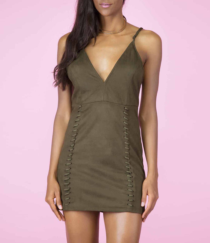 In Motion' Khaki Green Faux Suede Stitched Detailing Dress